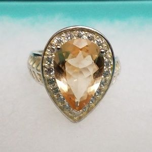 Jewelry - 925 Sterling Silver CZ Statement Ring Size 6.5